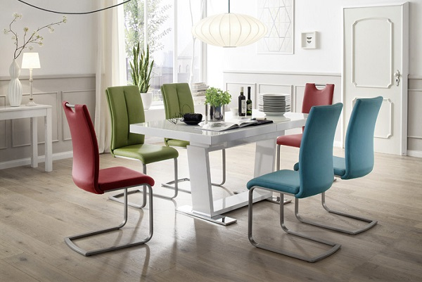 Manhattan Glass Dining Table In High Gloss With 8 Paulo Chairs_3