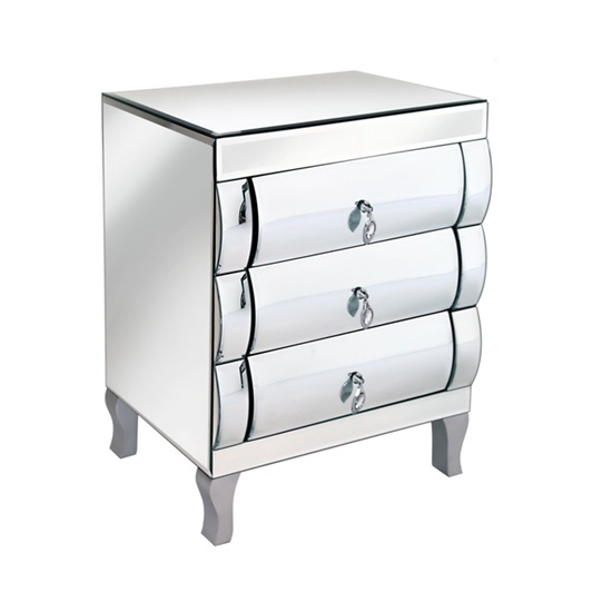 Zion 3 Drawer Chest And Bedside Cabinet In Curved Mirror