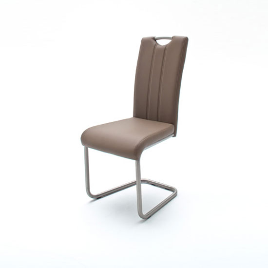 Marie Cantilever Dining Chair In Cappuccino Faux Leather_1