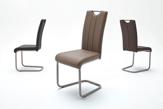Marie Cantilever Dining Chair In Cappuccino Faux Leather_2