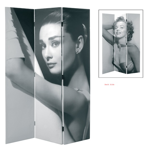 Marilyn Monroe Canvas Room Divider In Black And White