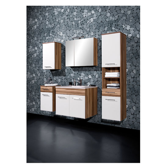 Marita Baltimore Walnut/White Bathroom Furniture Range