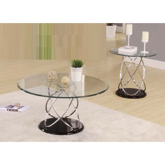 Marsielle Coffee Table in Black Glass And Chrome Legs