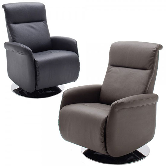 Almeida Rotating Reclining Chair In Black Leather And Metal Base_6