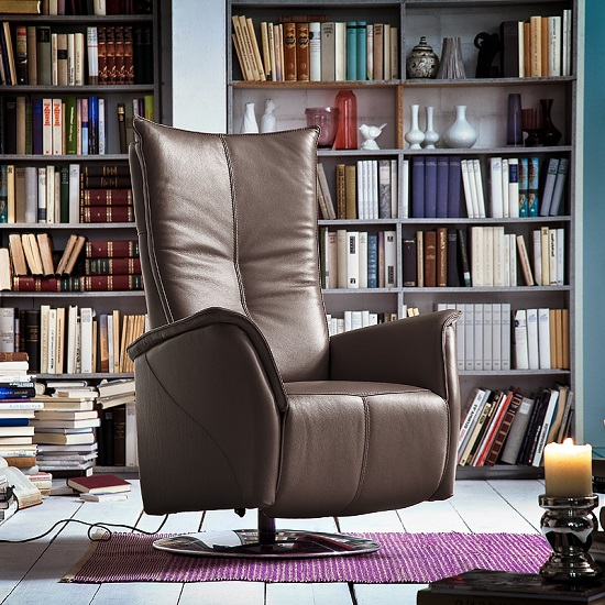 Martin Reclining Chair In Brown Leather And Chrome Base