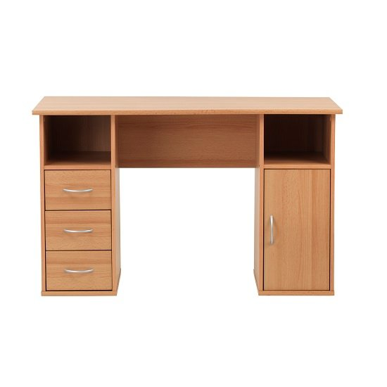 Tunisia Wooden Computer Table In Beech Effect With 3 Drawers_3