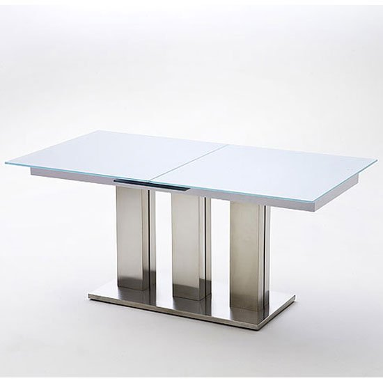 Massimo White Extending Frosted Glass Dining Table