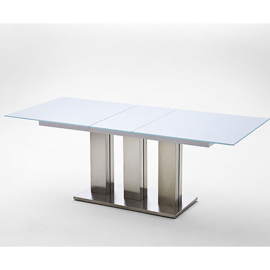 Massimo white frosted glass dining table 19506 furniture in for Frosted glass dining table