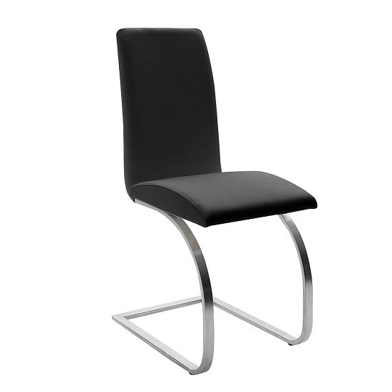 Maui Black Pu Dining Chair With Silver Finish Legs