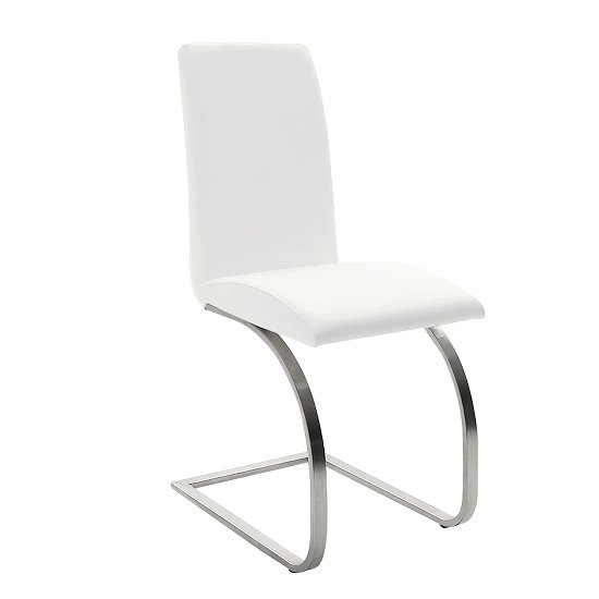 Maui White Pu Dining Chair With Silver Finish Legs
