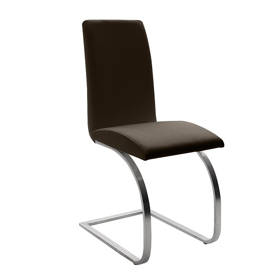 Maui Brown Pu Dining Chair With Silver Finish Legs_1