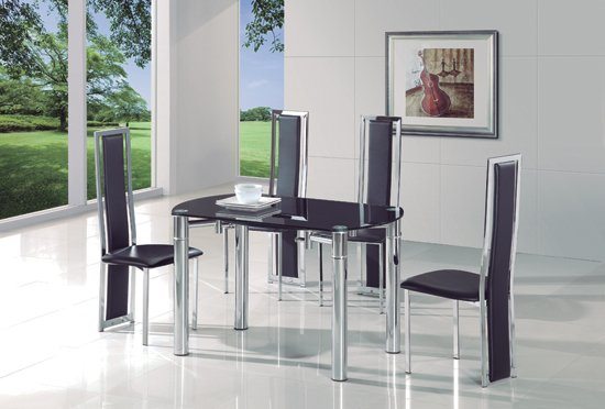 Oasis Round Extending Black Glass Dining Table And 6 G601 Chairs