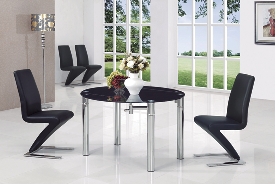 Oasis Round Extending Black Glass Dining Table And 6 Z Chairs