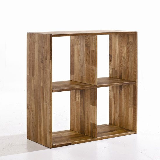 Maxio Solid Oak 4 Cube Cross Square Display Stand