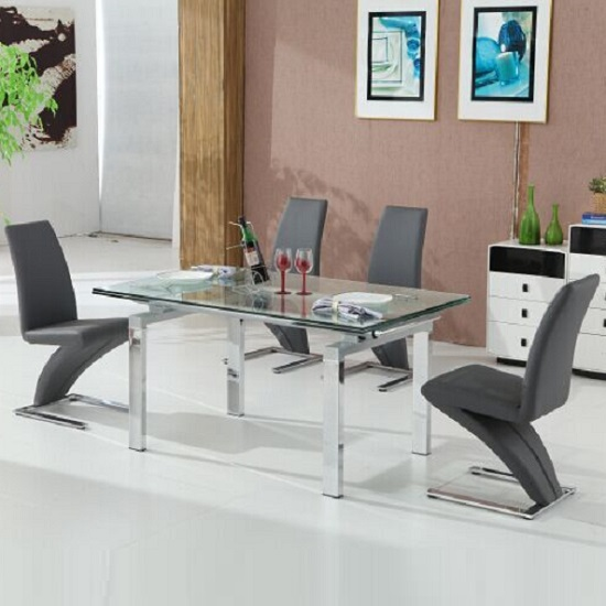 Jessi Extendable Dining Table In Clear Glass And 6 Grey Z