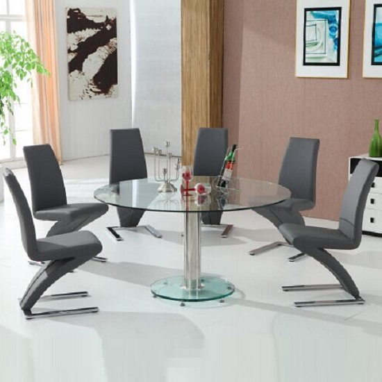 Maxi Round Dining Table In Clear Glass And 6 Grey Z Chairs 1