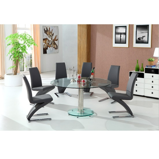 Maxi Round Dining Table In Clear Glass And 6 Grey Z Chairs_3