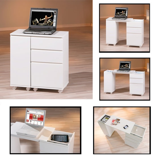 Maxim Extendable Laptop Office Desk In White With Rollers