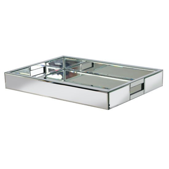 Marcus Tray In Silver With Mirrored Glass