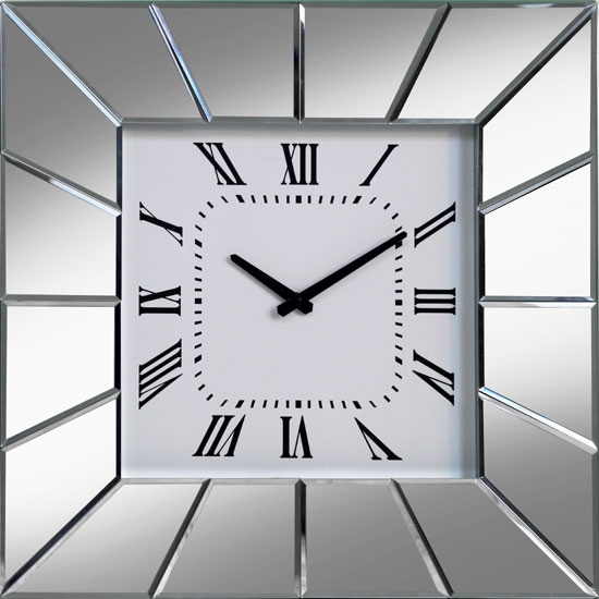 Marcus Square Wall Clock In Mitre Edge Mirror Glass And  : Mayfair Mitre Edge Wall CLok PHCL203 from www.furnitureinfashion.net size 550 x 550 jpeg 44kB