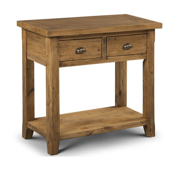 Photo of Dorset console table in solid pine with 2 drawer and undershelf