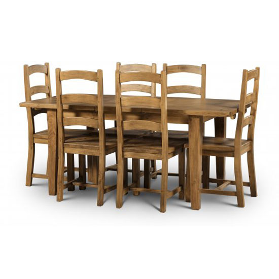 Dorset Extendable Dining Table In Solid Pine With 6 Dining Chair