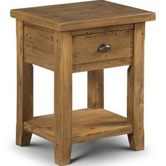 Dorset Lamp Table In Solid Pine With 1 Drawer And Undershelf