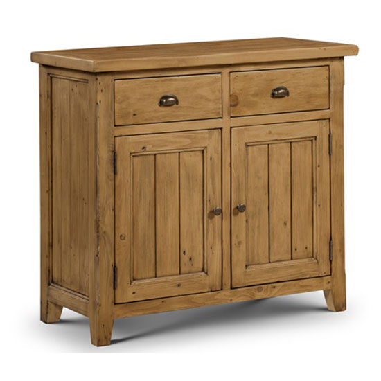 Dorset Compact Sideboard In Solid Pine With 2 Door And 2 Drawer