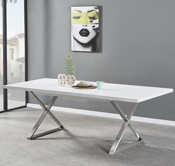 Mayline Extendable Dining Table in White High Gloss_1