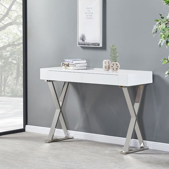 Mayline Console Table In White High Gloss