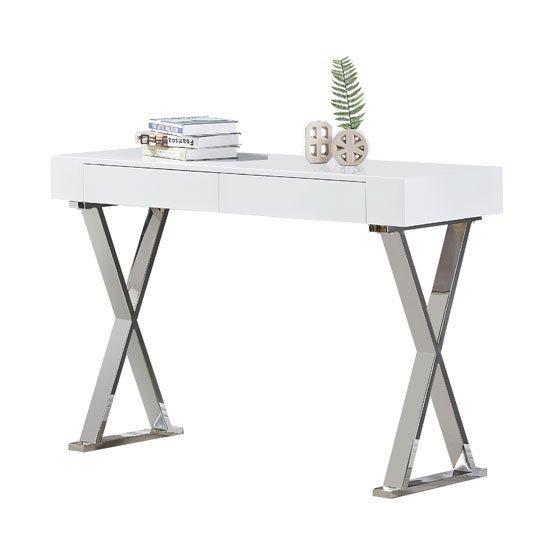 Mayline Console Table In White High Gloss_2