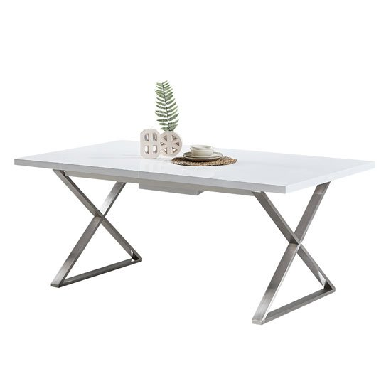 Mayline Extendable Dining Table in White High Gloss_5