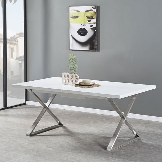 Mayline Extendable Dining Table in White High Gloss_4