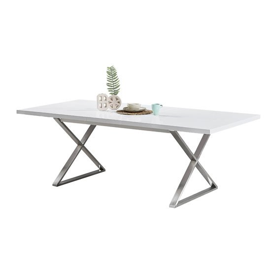 Mayline Extendable Dining Table in White High Gloss_3
