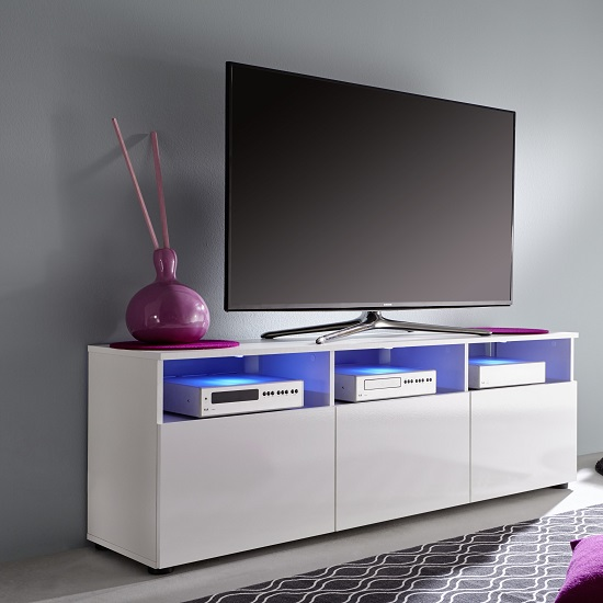 Read more about Hayden 3 doors lcd tv stand in white gloss fronts and led