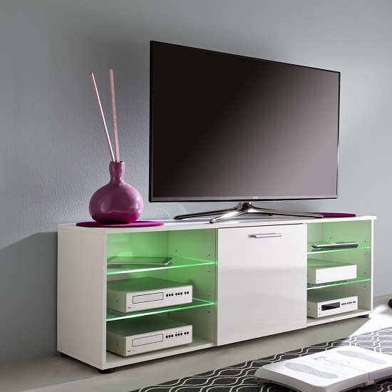Anderson Modern LCD TV Stand In White Gloss Fronts And LED_4
