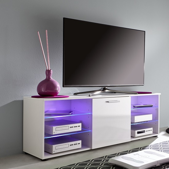 Anderson Modern LCD TV Stand In White Gloss Fronts And LED_6