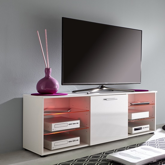 Anderson Modern LCD TV Stand In White Gloss Fronts And LED_8