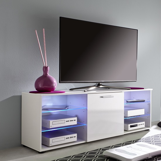 Anderson Modern LCD TV Stand In White Gloss Fronts And LED_10