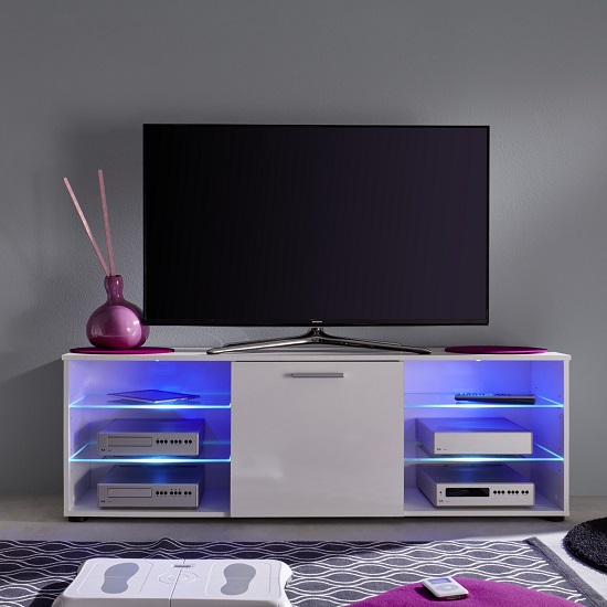 Anderson Modern LCD TV Stand In White Gloss Fronts And LED_3