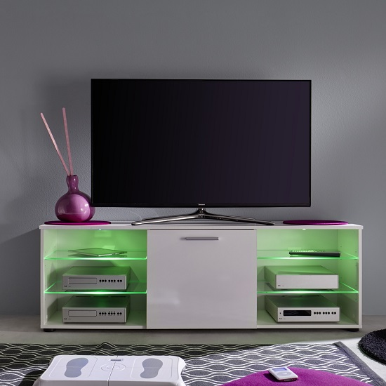 Anderson Modern LCD TV Stand In White Gloss Fronts And LED_5
