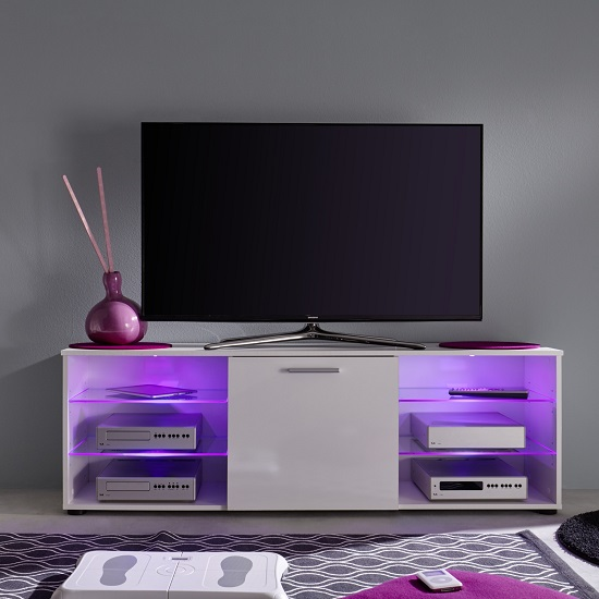 Anderson Modern LCD TV Stand In White Gloss Fronts And LED_7