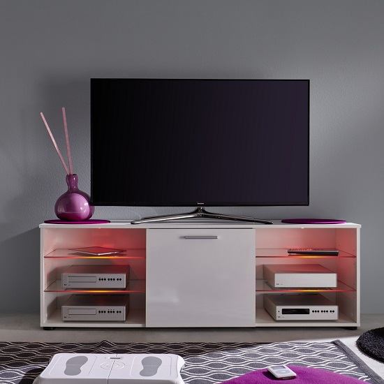 Anderson Modern LCD TV Stand In White Gloss Fronts And LED_9