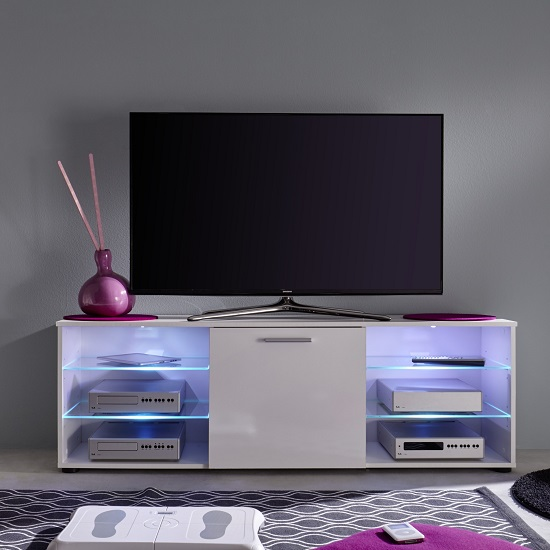 Anderson Modern LCD TV Stand In White Gloss Fronts And LED_11