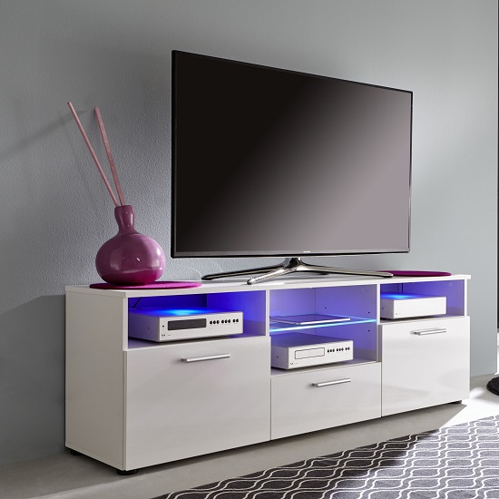 Caplan TV Stand In White With High Gloss Fronts And LED