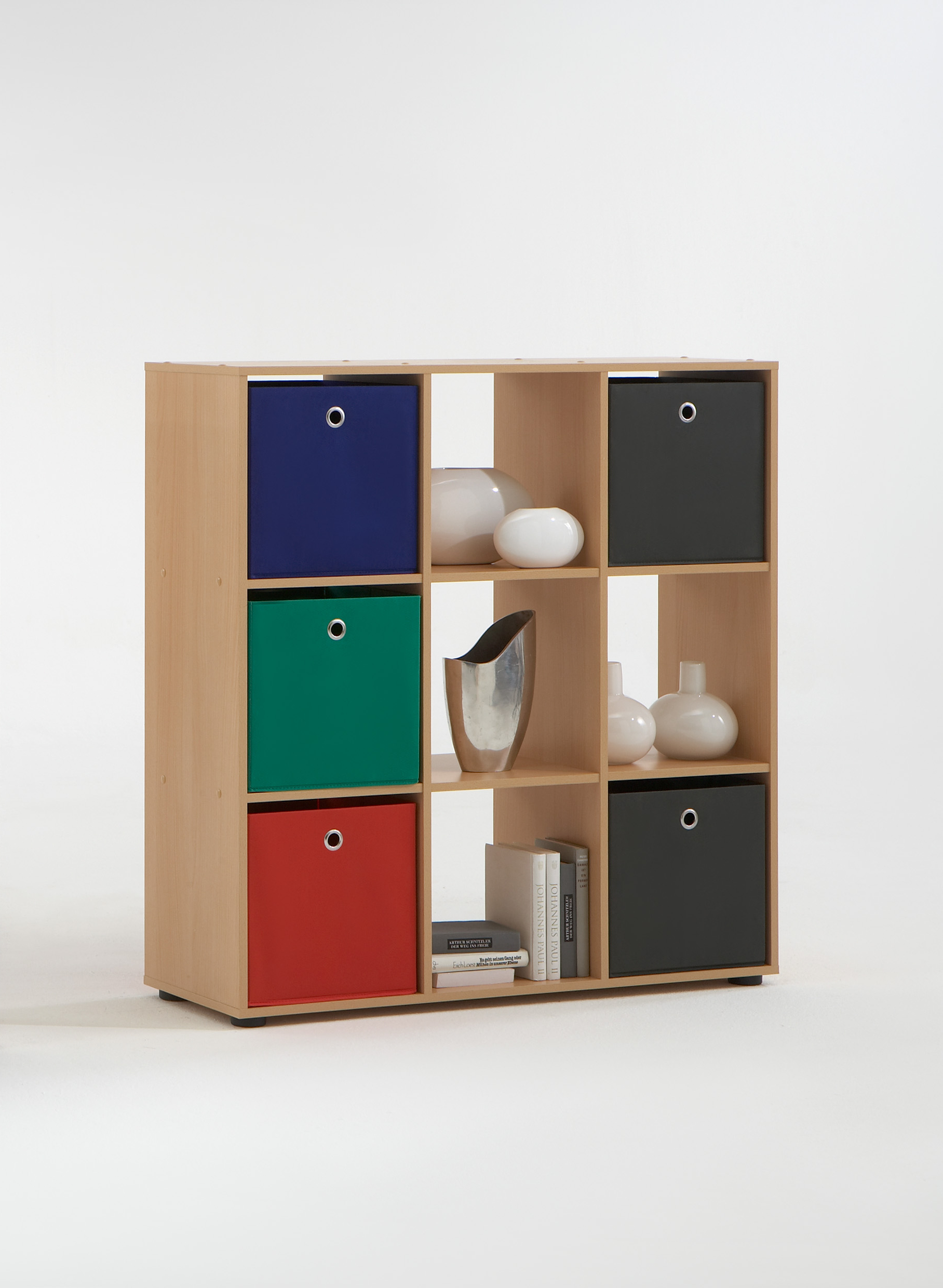 Photo of Mega5 bookcase in beech with 9 compartments