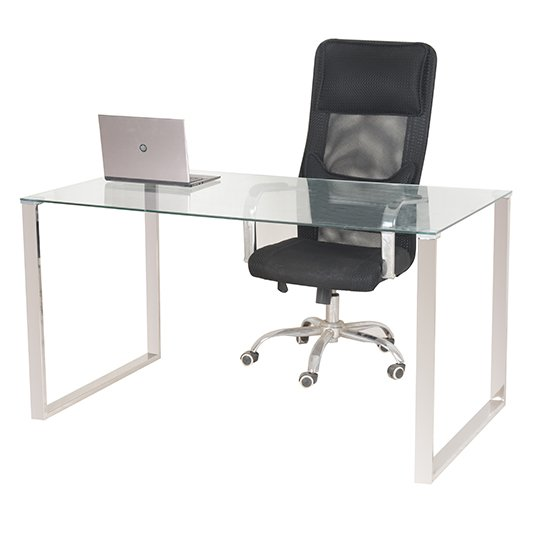 View Megan clear glass computer desk with chrome legs