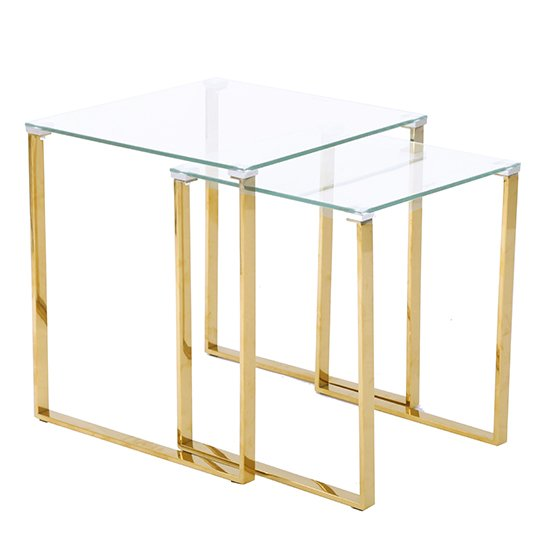Megan Clear Glass Nest of 2 Tables With Gold Legs_1