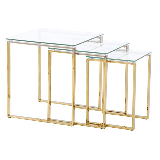Megan Clear Glass Nest of 3 Tables With Gold Legs