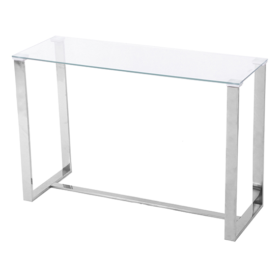 Megan Clear Glass Rectangular Console Table With Chrome Legs_2
